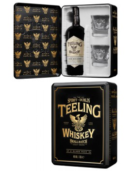 Виски TEELING Irish Whiskey Blend 46% OF (Gift Pack with 2 Glasses) 0,7л п/уп (металл)