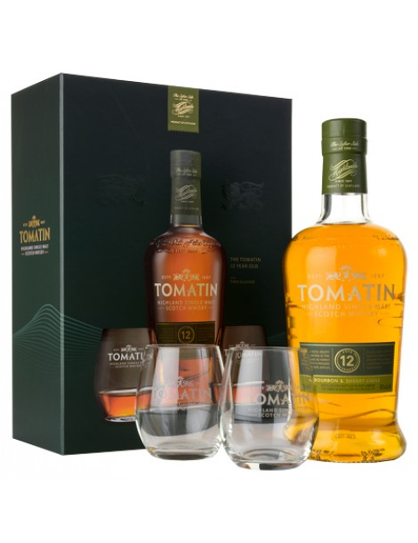 Виски Tomatin 12 years Gift Pack 2 glasses 0,7 43%